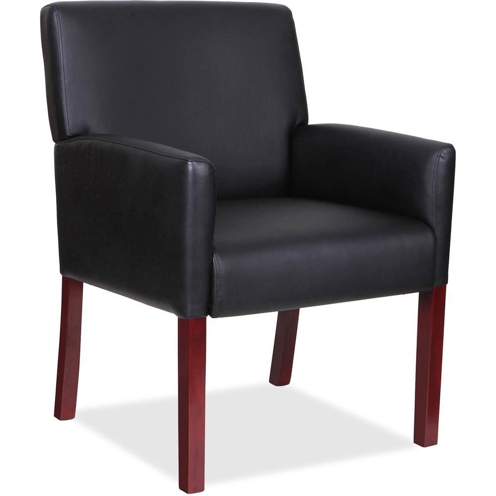Lorell Full Sided Arms Leather Guest Chair Leather Black