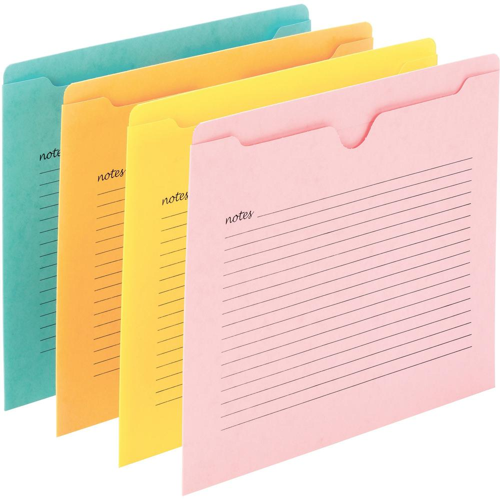 "Smead Notes File Jackets - Letter - 8 1/2"" x 11"" Sheet Size - Straight Tab Cut - Aqua, Goldenrod, Pink, Yellow - Recycled - 12 / Pack. Picture 1"