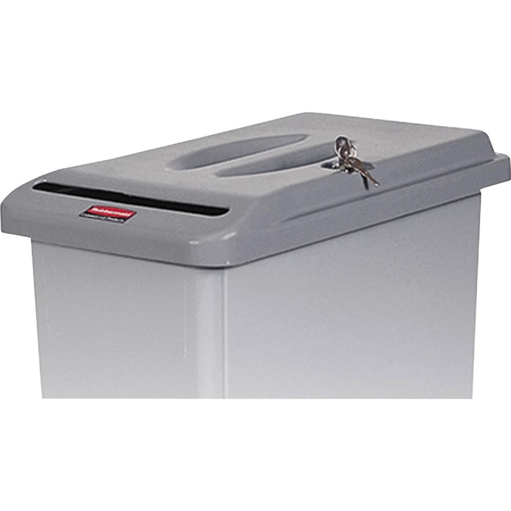 Rubbermaid Commercial Confidential Document Container Lid - 1 Each - Light Gray. Picture 1