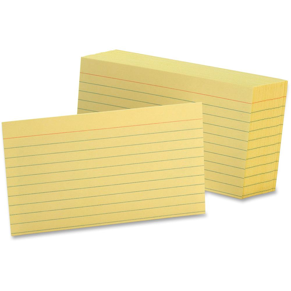 "Oxford Colored Ruled Index Cards - Front Ruling Surface - Ruled - 90 lb Basis Weight - 3"" x 5"" - Canary Paper - 100 / Pack. Picture 1"