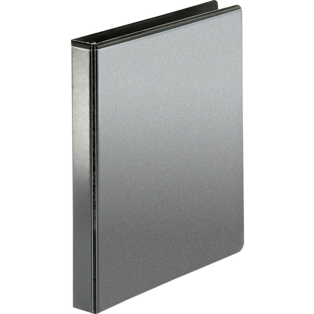 "Business Source Locking D-Ring View Binder - 1"" Binder Capacity - Letter - 8 1/2"" x 11"" Sheet Size - 240 Sheet Capacity - Slant D-Ring Fastener(s) - 2 Pocket(s) - Polypropylene, Chipboard - Black - Du. Picture 1"
