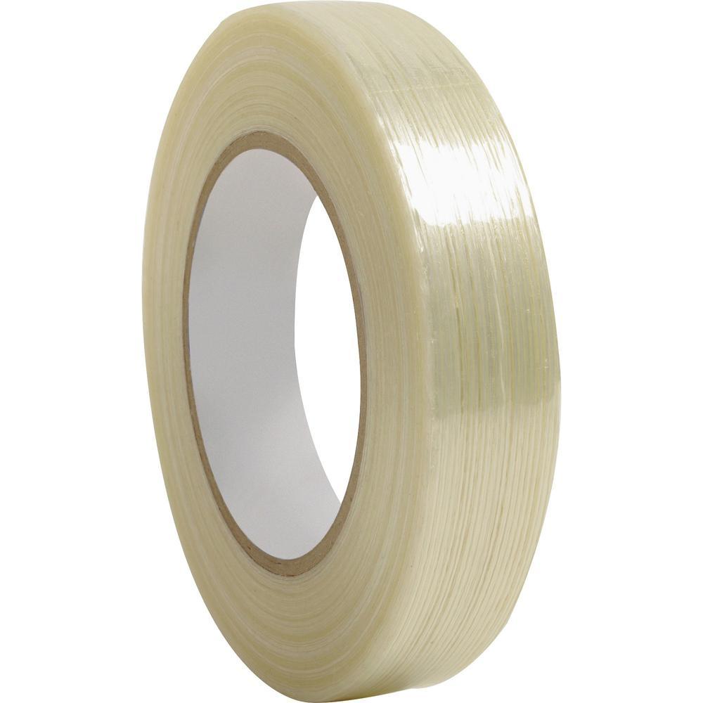 "Business Source Filament Tape - 60 yd Length x 1"" Width - 3"" Core - Fiberglass Filament - 1 / Roll - White. Picture 1"
