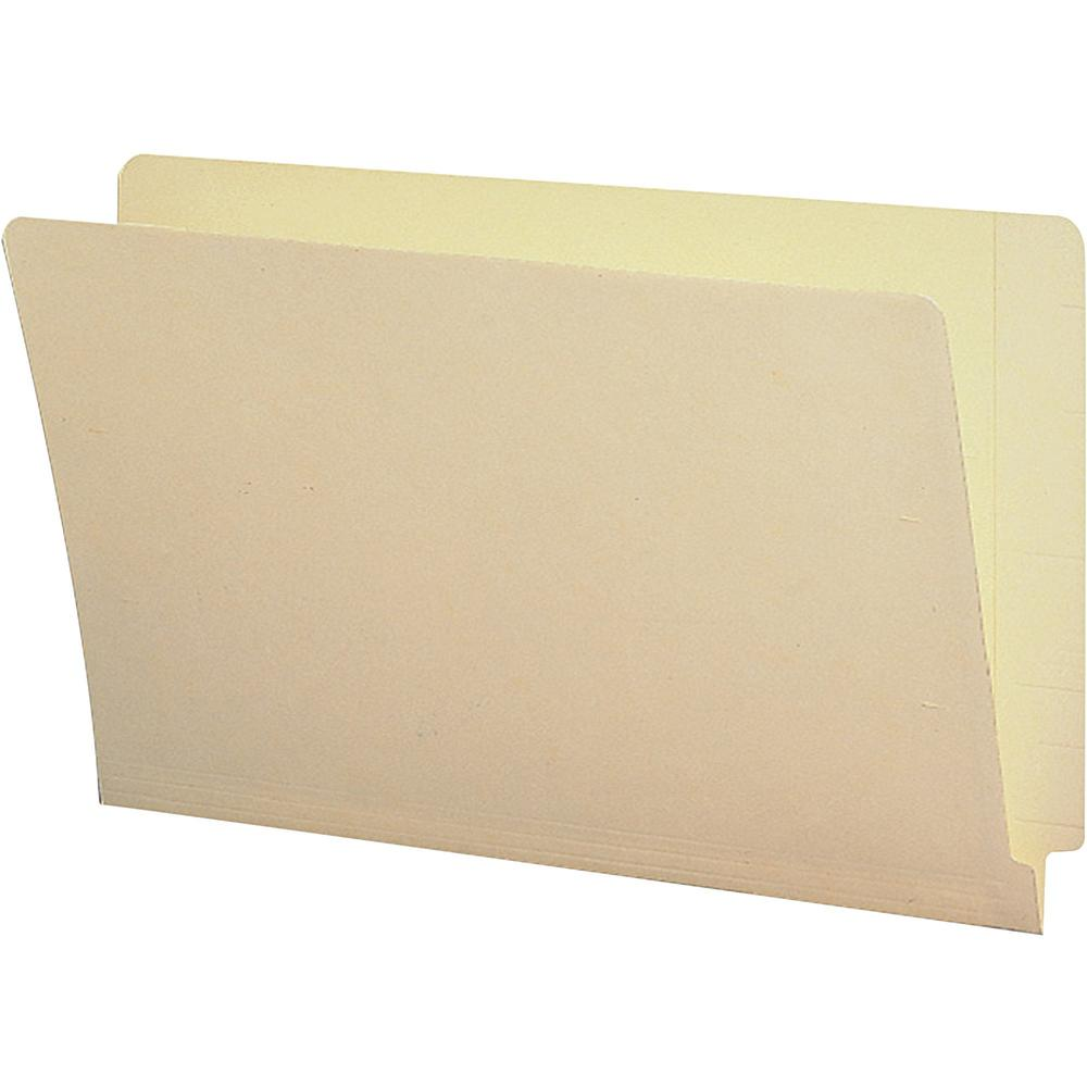 """Business Source Straight Tab Cut Legal Recycled End Tab File Folder - 8 1/2"""" x 14"""" - End Tab Location - Manila - 10% - 100 / Box. Picture 1"""