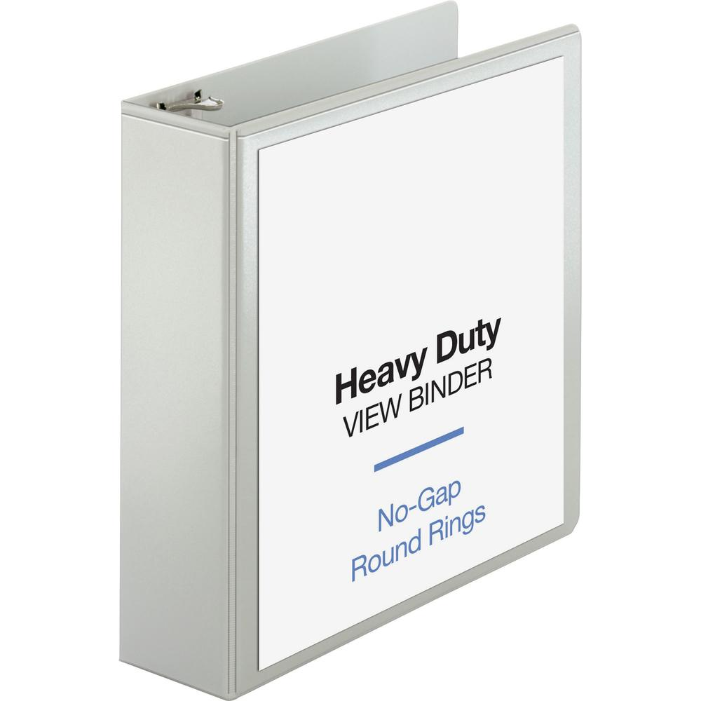 """Business Source Round-ring View Binder - 3"""" Binder Capacity - Letter - 8 1/2"""" x 11"""" Sheet Size - 625 Sheet Capacity - Round Ring Fastener(s) - 2 Internal Pocket(s) - Polypropylene, Chipboard, Board - . Picture 1"""