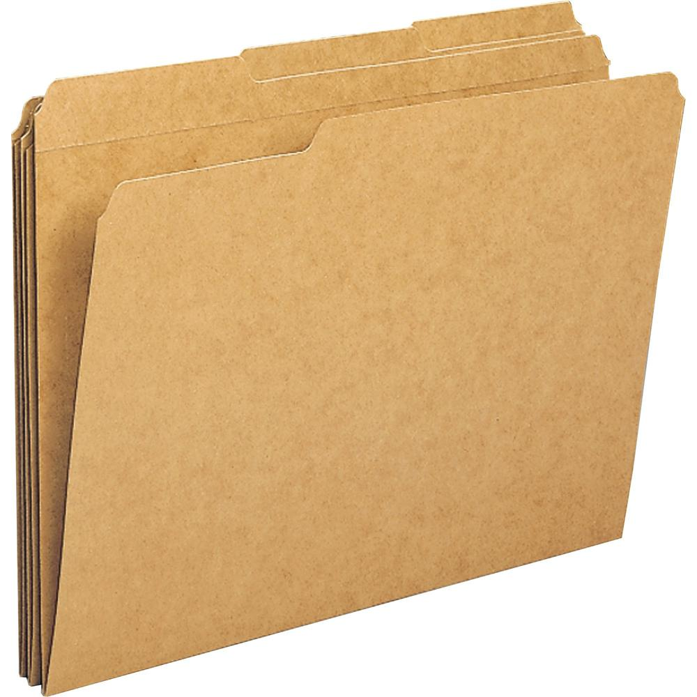 "Business Source 1/3-cut Tab Heavy Weight Kraft File Folders - Letter - 8 1/2"" x 11"" Sheet Size - 1/3 Tab Cut - Top Tab Location - Assorted Position Tab Position - 11 pt. Folder Thickness - Kraft, Stoc. Picture 1"