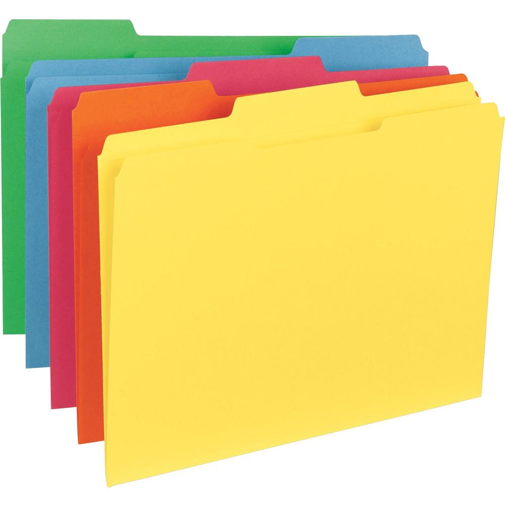 """Business Source 1/3-Cut Tab Colored File Folders - Letter - 8 1/2"""" x 11"""" Sheet Size - 1/3 Tab Cut - Top Tab Location - Assorted Position Tab Position - 11 pt. Folder Thickness - Stock - Blue, Green, R. Picture 1"""
