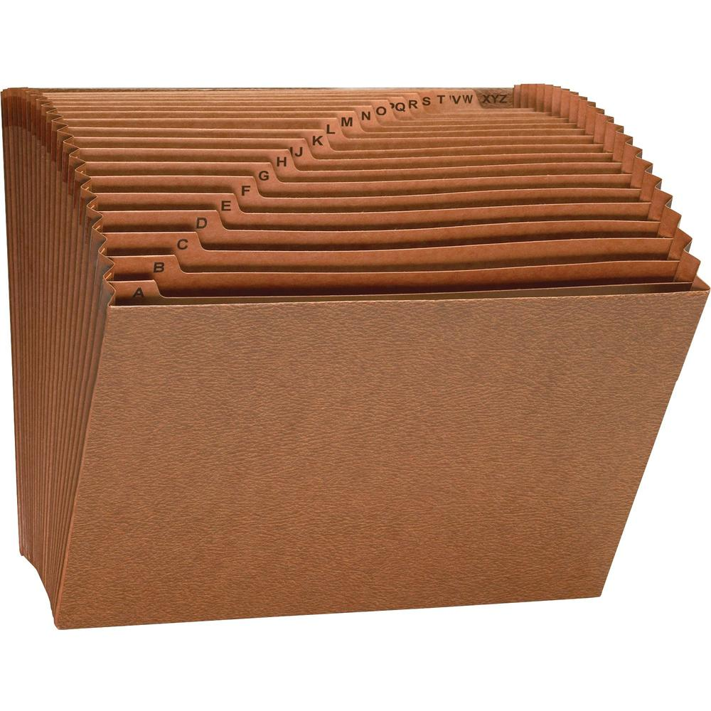 """Business Source Letter Recycled Expanding File - 8 1/2"""" x 11"""" - 21 Pocket(s) - Brown - 30% - 1 Each. Picture 1"""
