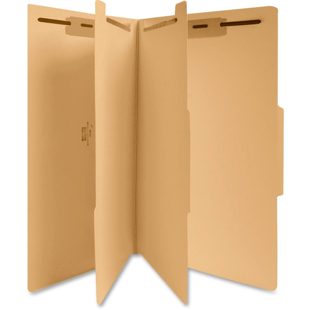 """Business Source 6-Part Manila Classification Folders - Legal - 8 1/2"""" x 14"""" Sheet Size - 2"""" Expansion - 1"""" Fastener Capacity, 2"""" Fastener Capacity - 2 Divider(s) - 18 pt. Folder Thickness - Manila - R. Picture 1"""