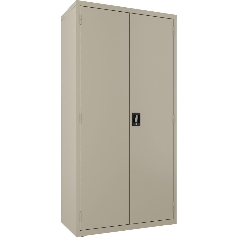 """Lorell Wardrobe Cabinet - 18"""" x 36"""" x 72"""" - 2 x Door(s) - Locking Door - Putty - Steel - Recycled. Picture 1"""