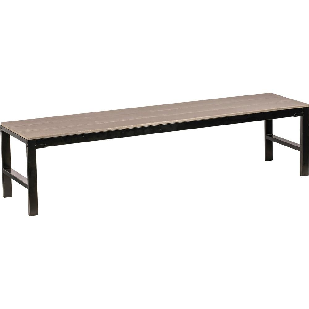 Lorell Charcoal Faux Wood Outdoor Bench - Charcoal Gray Faux Wood Seat - Four-legged Base - 1 Each. Picture 1