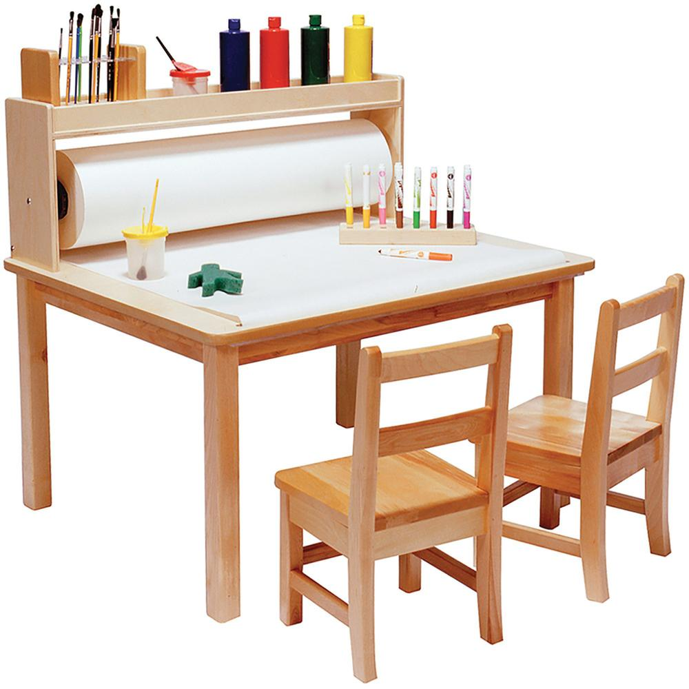 "Children's Factory Arts & Crafts Table - Square Top - 36"" Table Top Length x 36"" Table Top Width - 18"" Height - Assembly Required - Natural, Wood Grain, Laminated - Birch Veneer. Picture 1"