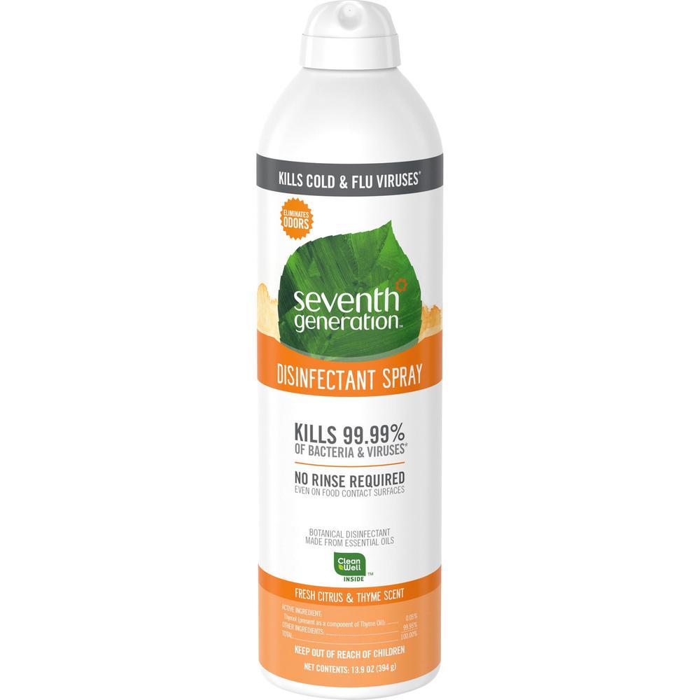 Seventh Generation Disinfectant Cleaner - Spray - 13.9 fl oz (0.4 quart) - Fresh Citrus & Thyme Scent - 8 / Carton - Clear. Picture 1