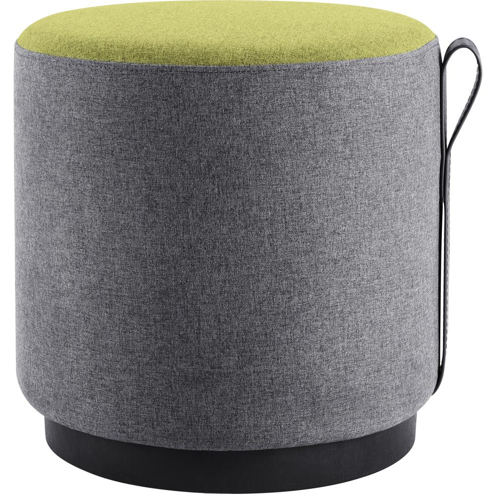 """Lorell Contemporary Seating Round Foot Stool - Green, Gray Fabric Seat - 16.9"""" Width x 16.9"""" Depth x 16.9"""" Height - 1 Each. Picture 1"""