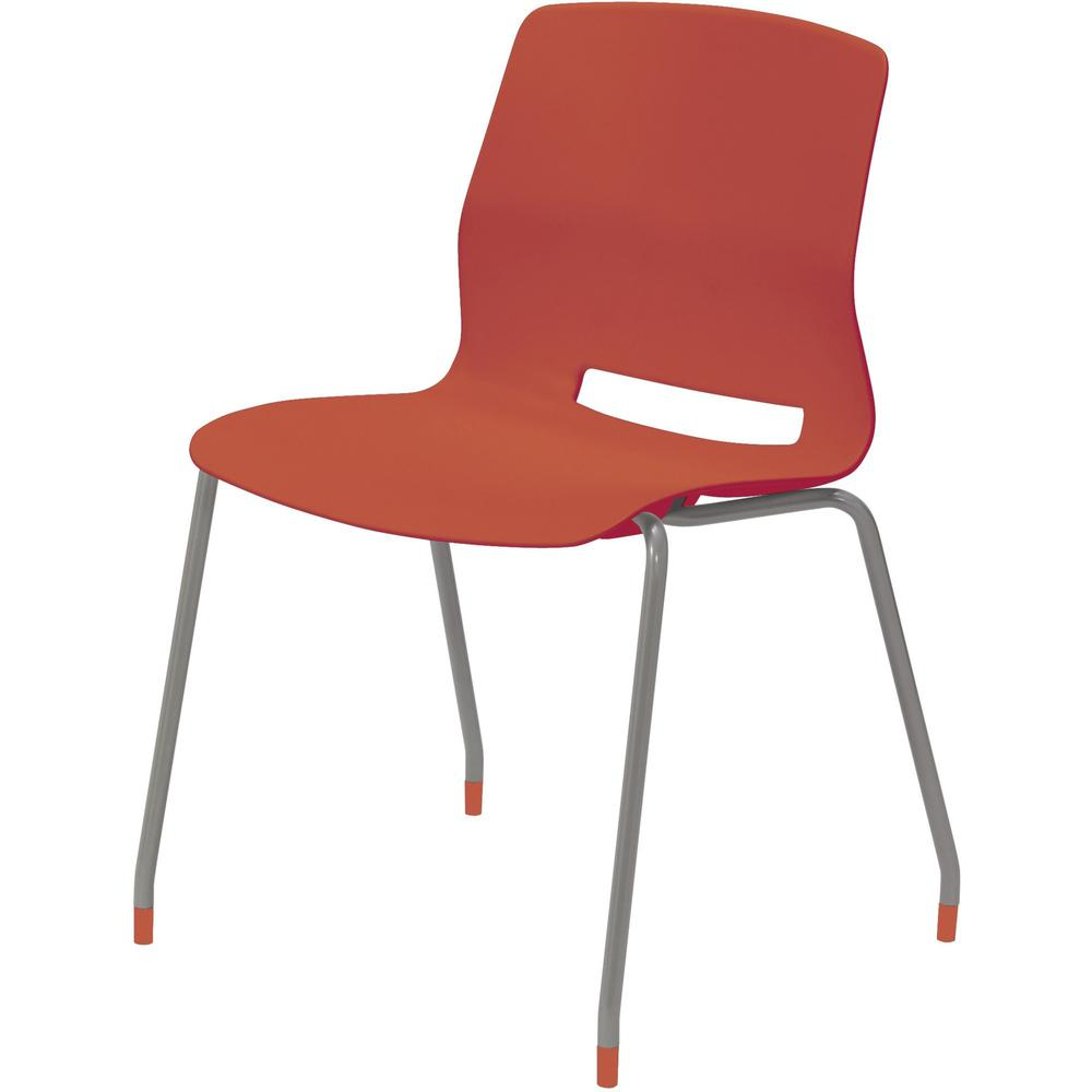 """KFI Swey Collection 4-leg Armless Stool - Coral Polypropylene Seat - Coral Polypropylene Back - Silver Stainless Steel Frame - Four-legged Base - 18"""" Seat Width x 17"""" Seat Depth - 22"""" Width x 19.7"""" De. Picture 1"""