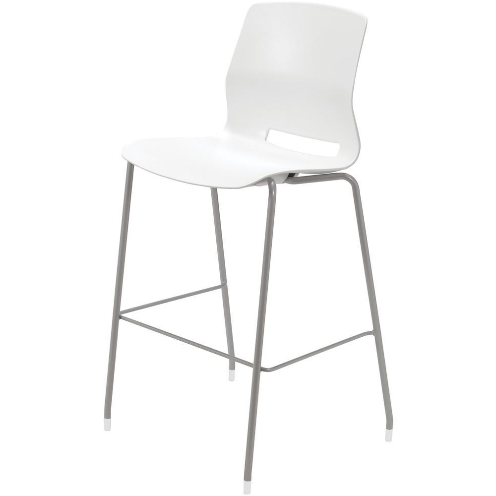 "KFI Swey Collection 30"" Multipurpose Stool - White Polypropylene Seat - White Polypropylene Back - Silver Stainless Steel Frame - Four-legged Base - 18"" Seat Width x 17"" Seat Depth - 20.5"" Width x 20.. Picture 1"