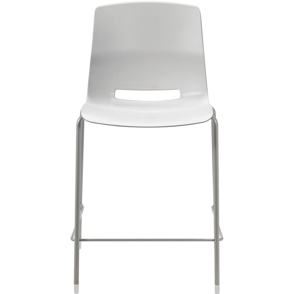 """KFI Swey Collection 25"""" Multipurpose Stool - Light Gray Polypropylene Seat - Light Gray Polypropylene Back - Silver Steel Frame - Four-legged Base - 18"""" Seat Width x 17"""" Seat Depth - 20.5"""" Width x 20.. Picture 1"""