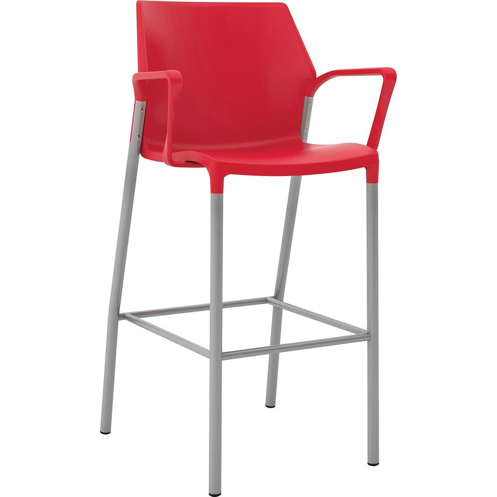 "United Chair io Collection Fixed Arms Cafe Height Stool - Red - Polypropylene - 20.5"" Length x 23.5"" Width - 44"" Height - 1 Each. Picture 1"