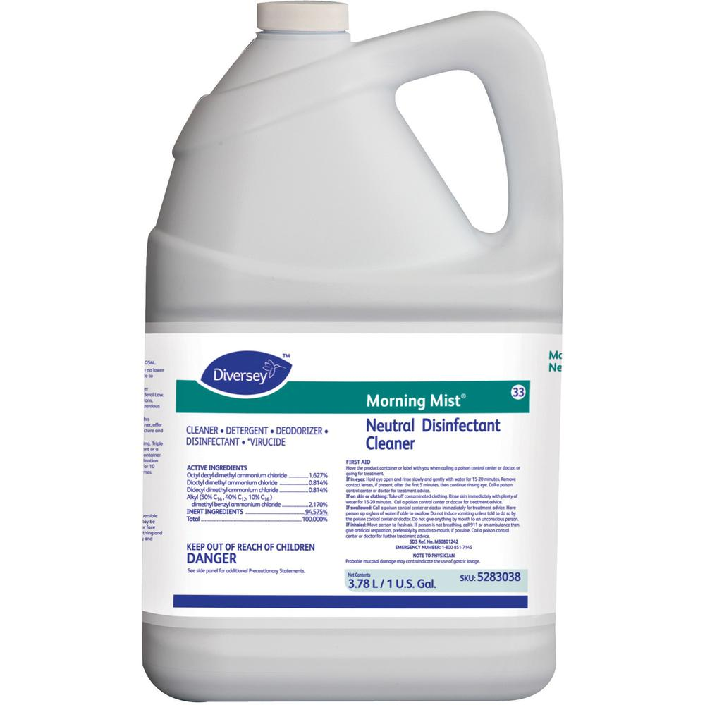 Diversey Morning Mist Neutral Disinfectant - Ready-To-Use Spray - 128 fl oz (4 quart) - Neutral Scent - 4 / Carton - Blue. Picture 1