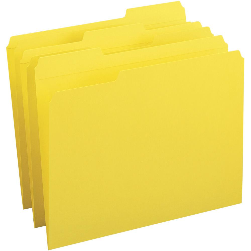 Business Source Reinforced Tab Colored File Folders - 1/3 Tab Cut - Yellow - Recycled - 100 / Box. Picture 1