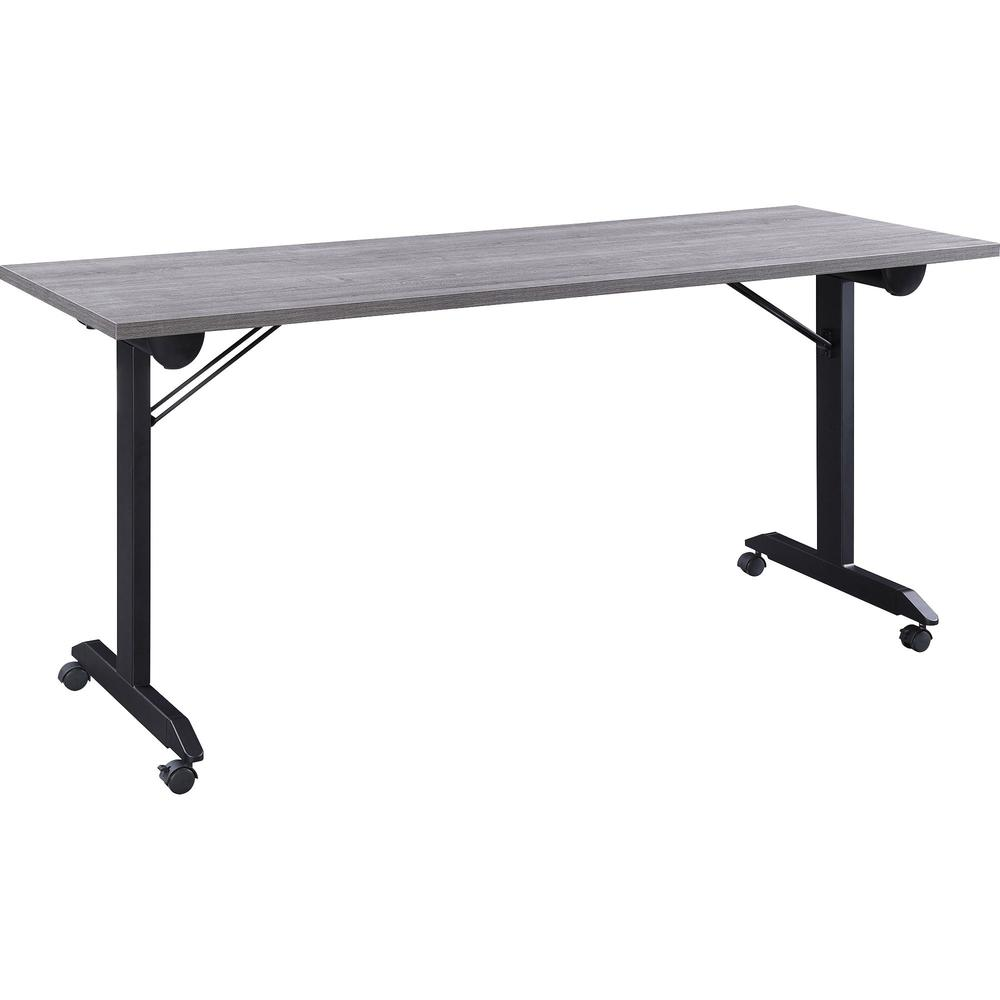 """Lorell Mobile Folding Training Table - Rectangle Top - Powder Coated Base - 23.63"""" Table Top Length x 29.50"""" Table Top Width - 63"""" Height - Assembly Required - Weathered Charcoal. Picture 1"""