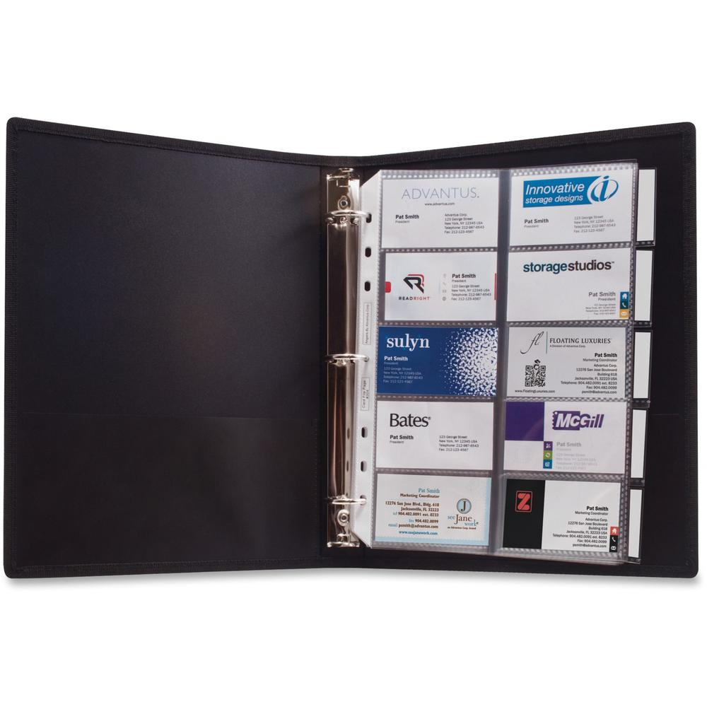 """Anglers 3-Ring Business Card Binder - 1000 Capacity - 8.50"""" Width x 11"""" Length - 3-ring Binding - 5 x Tab(s) - Refillable"""