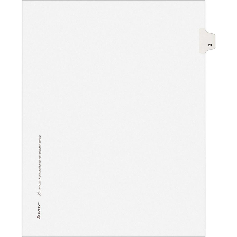 """Avery® Individual Legal Exhibit Dividers - Avery Style - 1 Printed Tab(s) - Digit - 29 - 1 Tab(s)/Set - 8.5"""" Divider Width x 11"""" Divider Length - Letter - White Paper Divider - Paper Tab(s) - 25 /. Picture 1"""