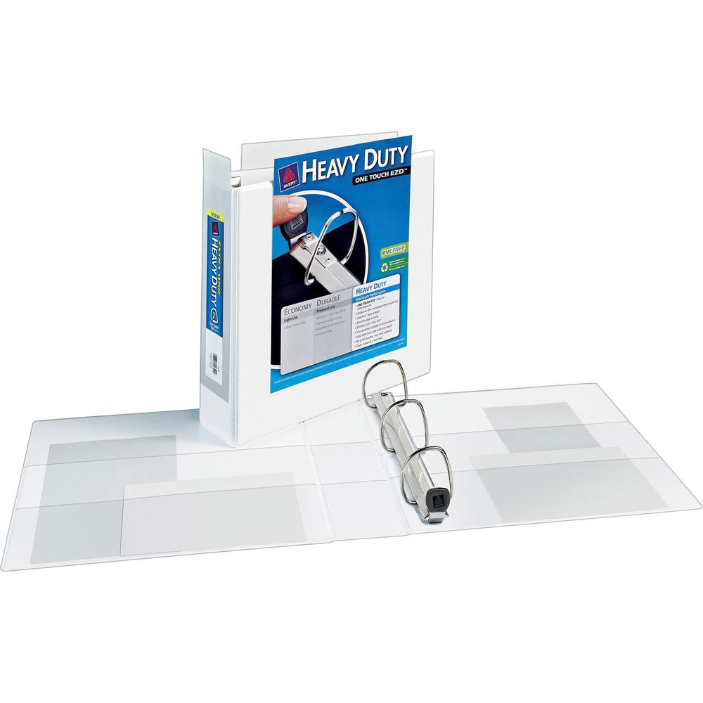 """Avery® Heavy-Duty View Extra Wide Binder, 2"""" EZD Rings, White - 2"""" Binder Capacity - Letter - 8 1/2"""" x 11"""" Sheet Size - 540 Sheet Capacity - 3 x D-Ring Fastener(s) - 4 Internal Pocket(s) - Poly - . Picture 1"""