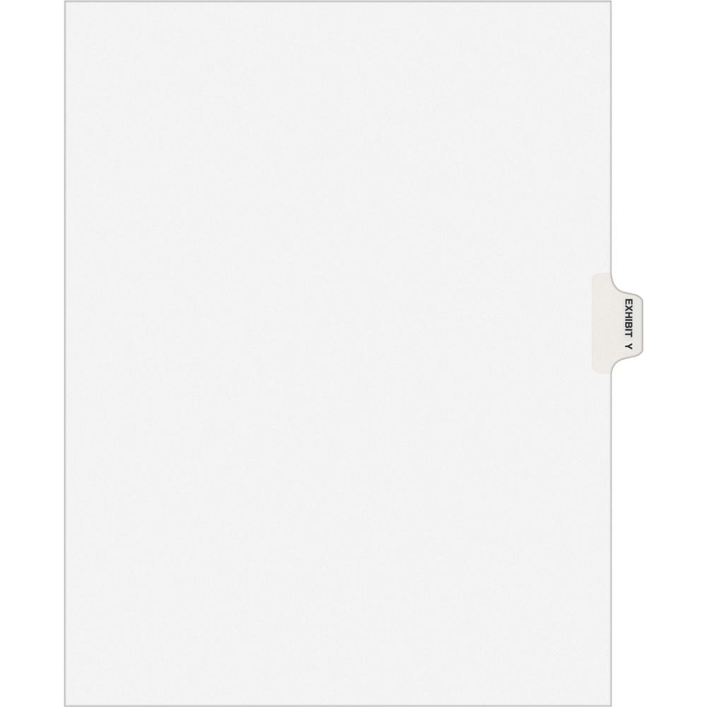 """Avery® Individual Legal Exhibit Dividers - Avery Style - 1 Printed Tab(s) - Character - Y - 8.5"""" Divider Width x 11"""" Divider Length - Letter - White Paper Divider - Paper Tab(s) - 25 / Pack. Picture 1"""