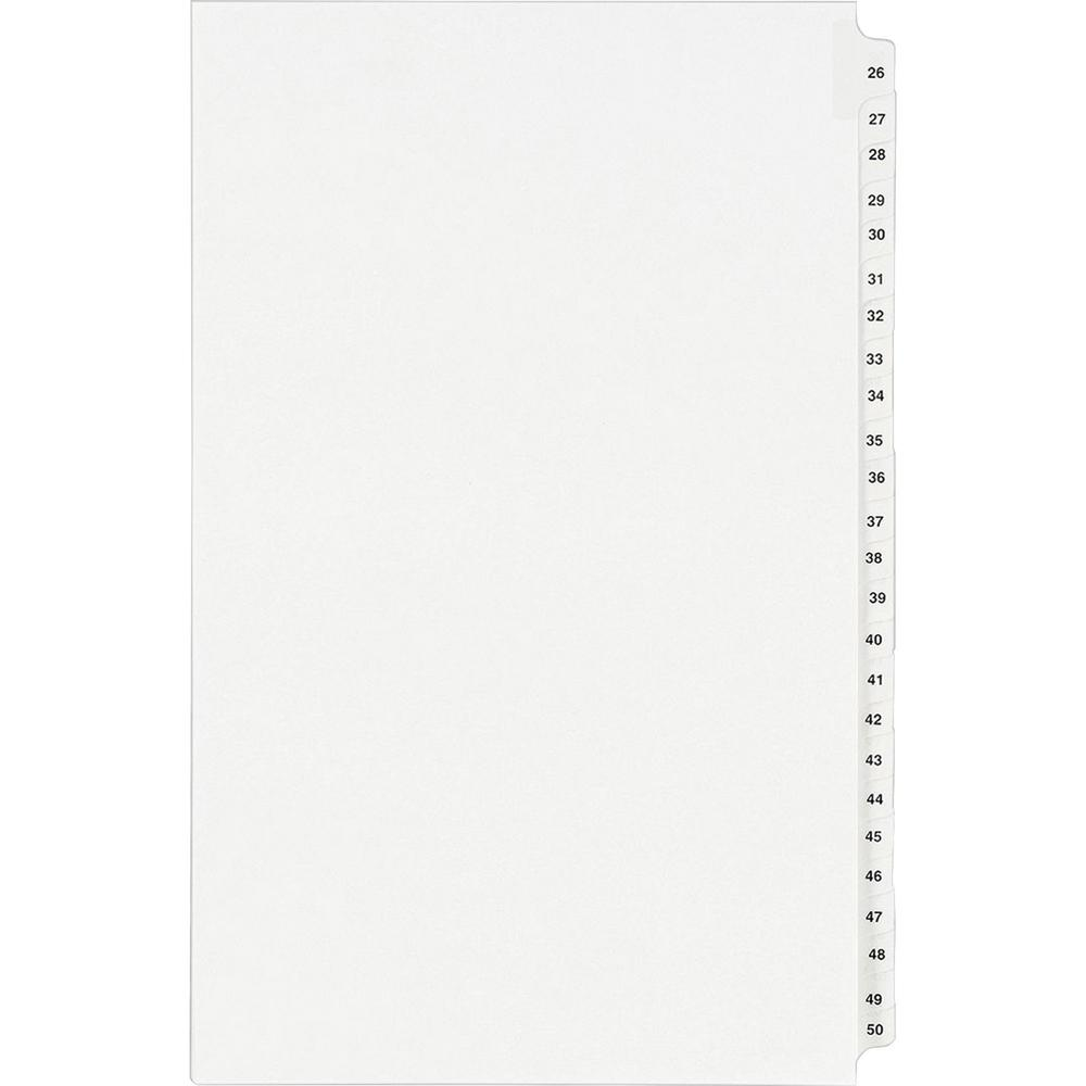 """Avery® Standard Collated Legal Exhibit Divider Sets - Avery Style - 25 x Divider(s) - Printed Tab(s) - Digit - 26-50 - 25 Tab(s)/Set - 8.5"""" Divider Width x 14"""" Divider Length - Legal - White Paper. Picture 1"""