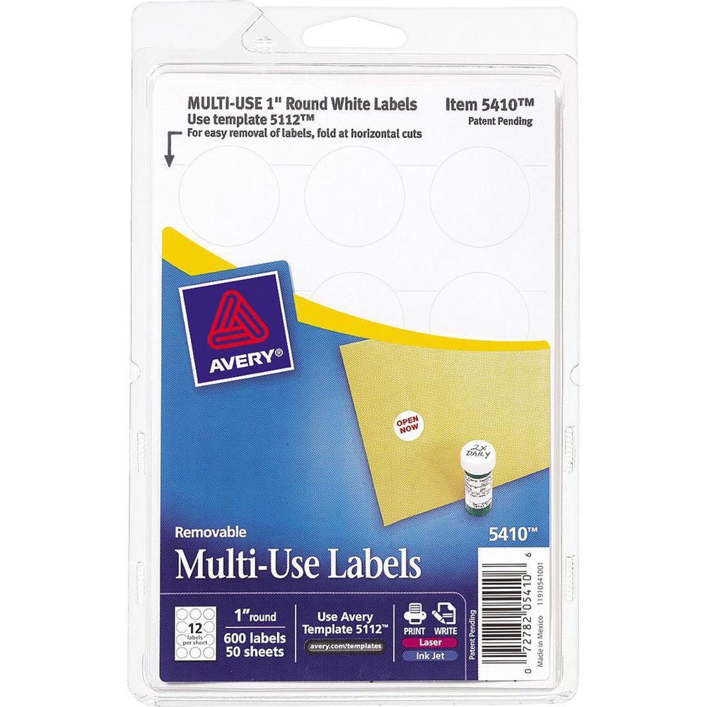 """Avery® Removable ID Labels - 1"""" Diameter - Removable Adhesive - Circle - Inkjet, Laser - White - 600 / Pack. Picture 1"""