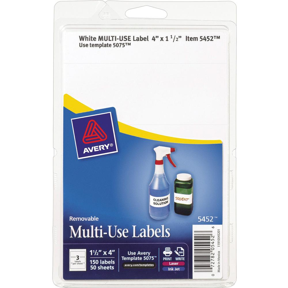"""Avery® Removable ID Labels - 4"""" x 1 1/2"""" Length - Removable Adhesive - Rectangle - Laser, Inkjet - White - 150 / Pack. Picture 1"""