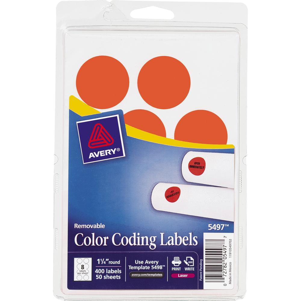 """Avery® 1-1/4"""" Color-Coding Labels - 1 1/4"""" Diameter - Removable Adhesive - Round - Laser - Red - 12 / Sheet - 400 / Pack. Picture 1"""