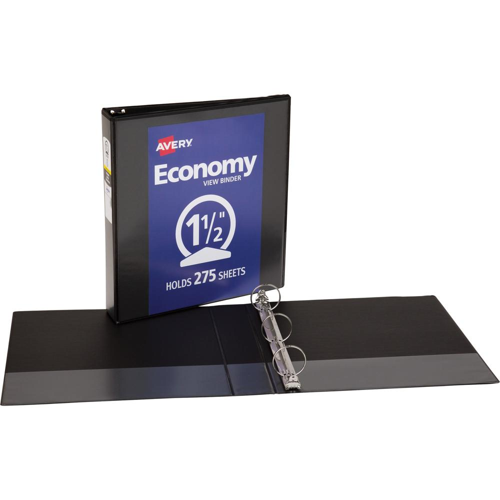 "Avery® Economy View Binder - 1 1/2"" Binder Capacity - Letter - 8 1/2"" x 11"" Sheet Size - 275 Sheet Capacity - 3 x Round Ring Fastener(s) - 2 Internal Pocket(s) - Vinyl - Black - 15.84 oz - Gap-fre. Picture 1"