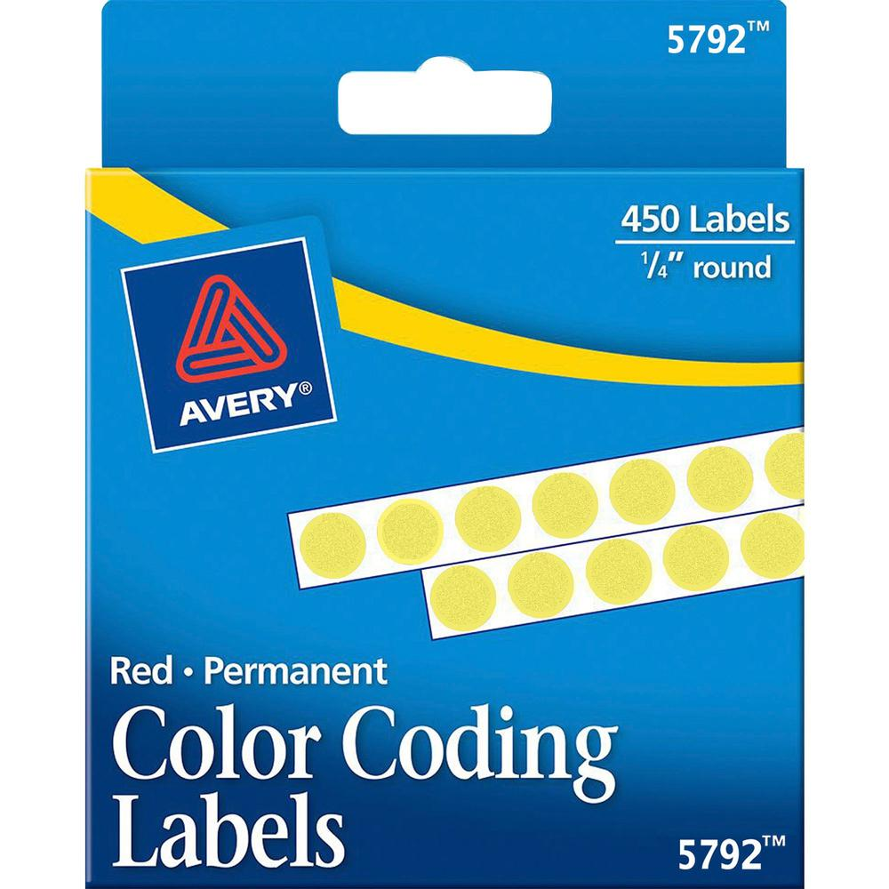 """Avery® 1/4"""" Color-Coding Labels - 1/4"""" Diameter - Permanent Adhesive - Round - Yellow - 450 / Pack. Picture 1"""