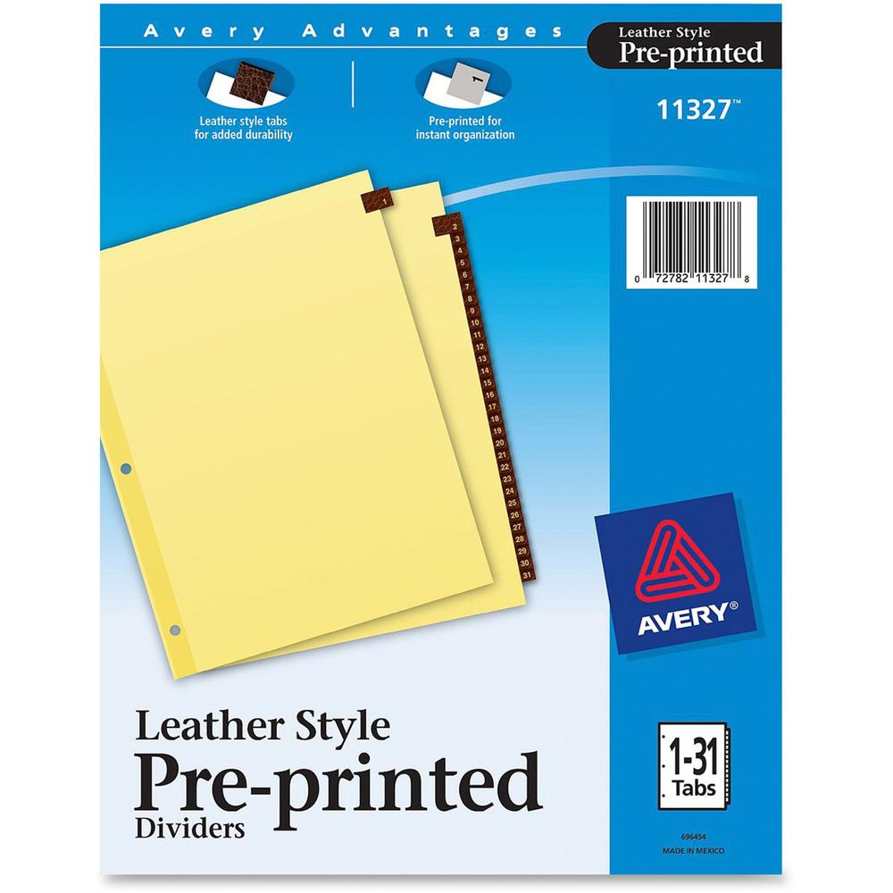 "Avery® Preprinted Tab Dividers - Clear Reinforced Edge - 31 Printed Tab(s) - Digit - 1-31 - 31 Tab(s)/Set - 8.5"" Divider Width x 11"" Divider Length - Letter - 3 Hole Punched - Buff Paper Divider -. The main picture."