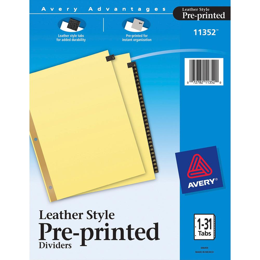 """Avery® Preprinted Tab Dividers - Gold Reinforced Edge - 31 x Divider(s) - Printed Tab(s) - Digit - 1-31 - 31 Tab(s)/Set - 8.5"""" Divider Width x 11"""" Divider Length - Letter - 3 Hole Punched - Buff P. Picture 1"""