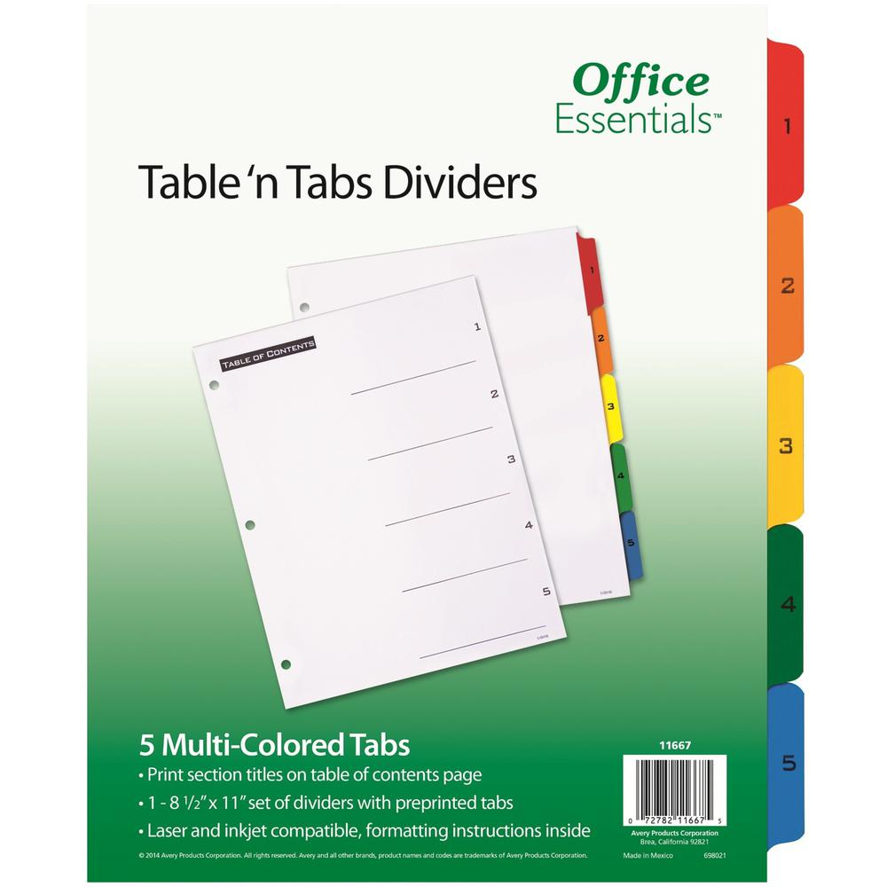 """Avery® Table 'N Tabs Numeric Dividers - 5 x Divider(s) - 1-5, Table of Contents - 5 Tab(s)/Set - 8.5"""" Divider Width x 11"""" Divider Length - 3 Hole Punched - White Paper Divider - Multicolor Paper T. Picture 1"""