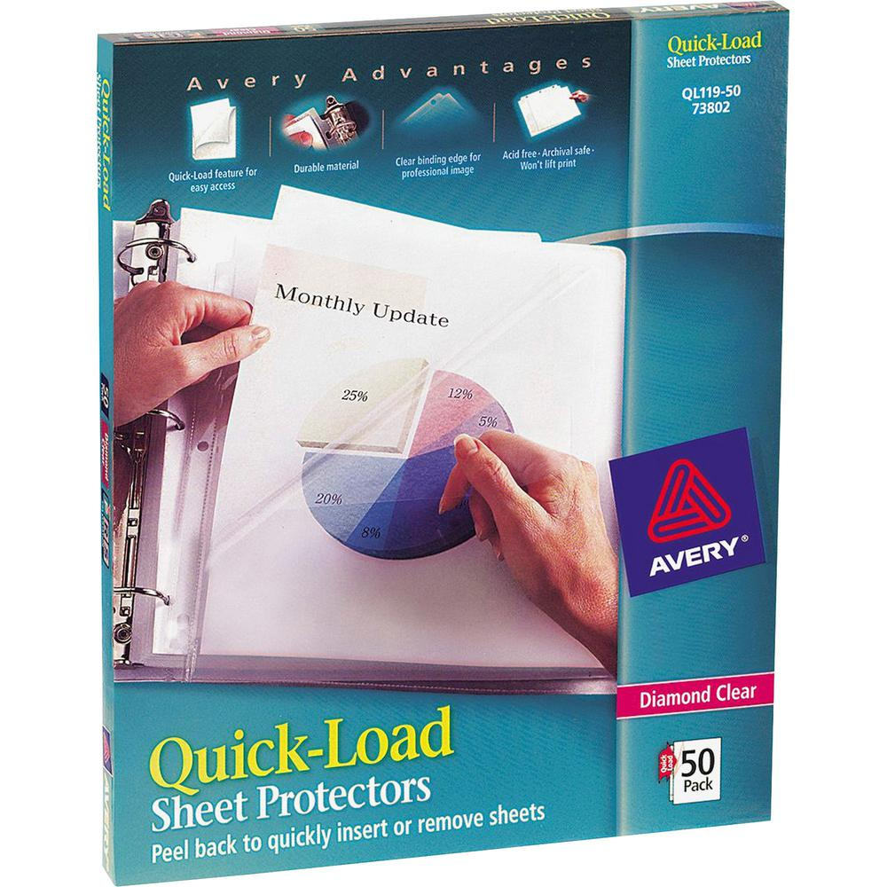 """Avery® Quick-Load Sheet Protectors - For Letter 8 1/2"""" x 11"""" Sheet - Clear - Polypropylene - 50 / Box. Picture 1"""
