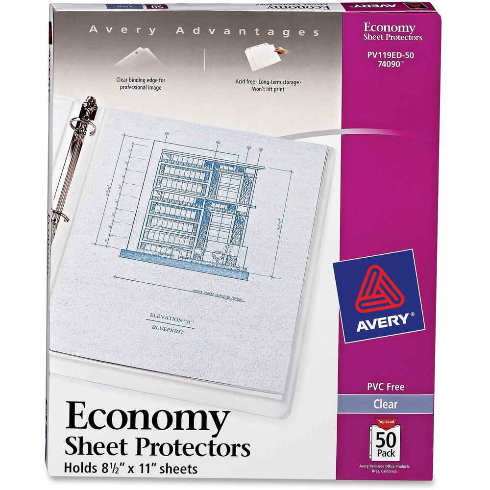 """Avery® Economy-Weight Sheet Protectors - For Letter 8 1/2"""" x 11"""" Sheet - Clear - Polypropylene - 50 / Box. Picture 1"""
