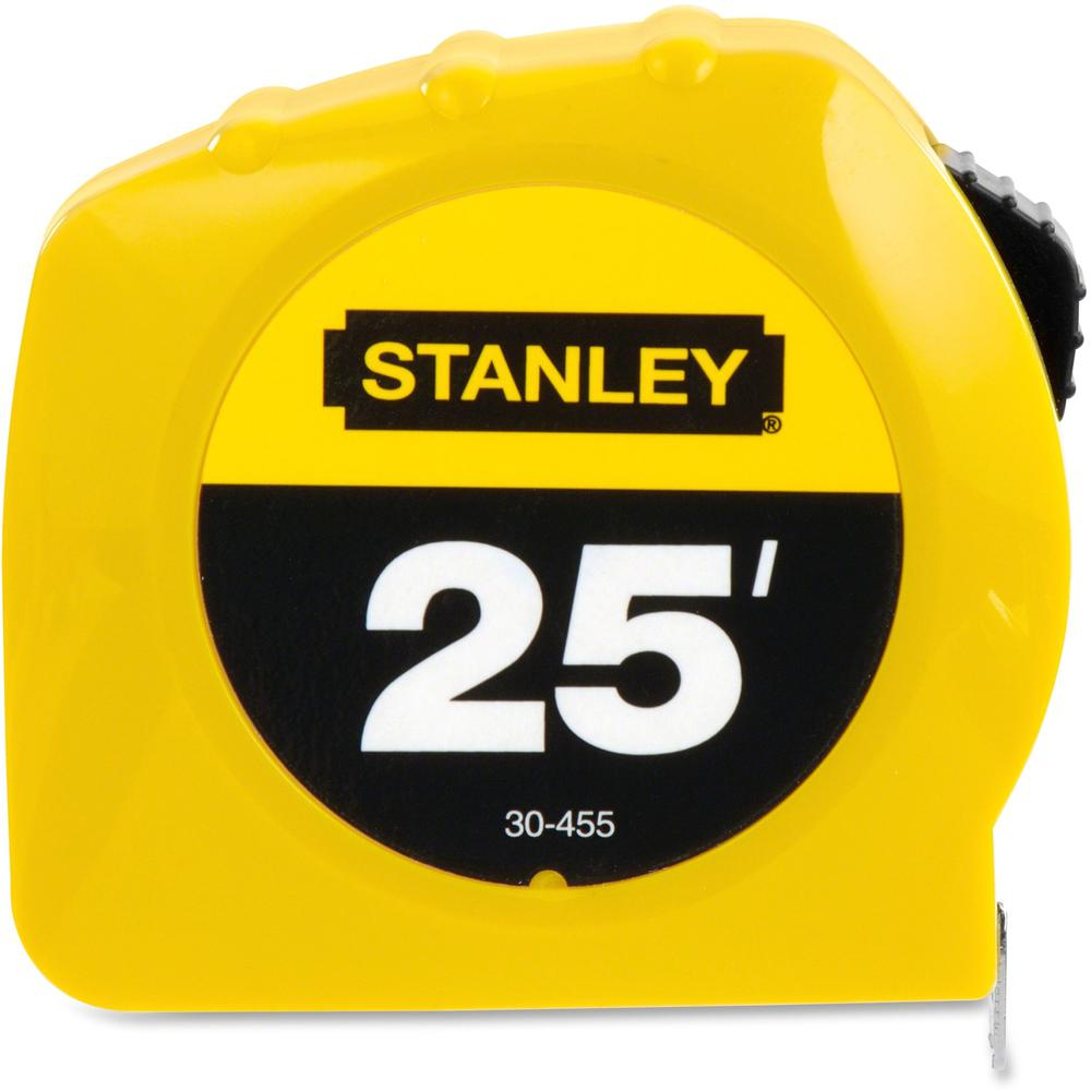 """Stanley Tape Rule - 25 ft Length 1"""" Width - 1/16 Graduations - Imperial Measuring System - Plastic - 1 Each - Yellow. Picture 1"""