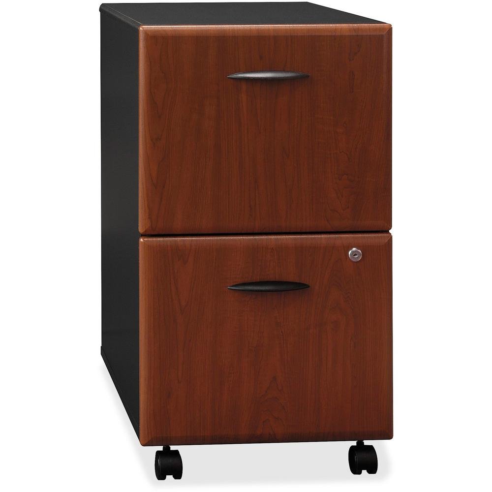 Bush Business Furniture Series A 2 Drawer Mobile File Cabinet, Assembled, Hansen Cherry/Galaxy. Picture 1