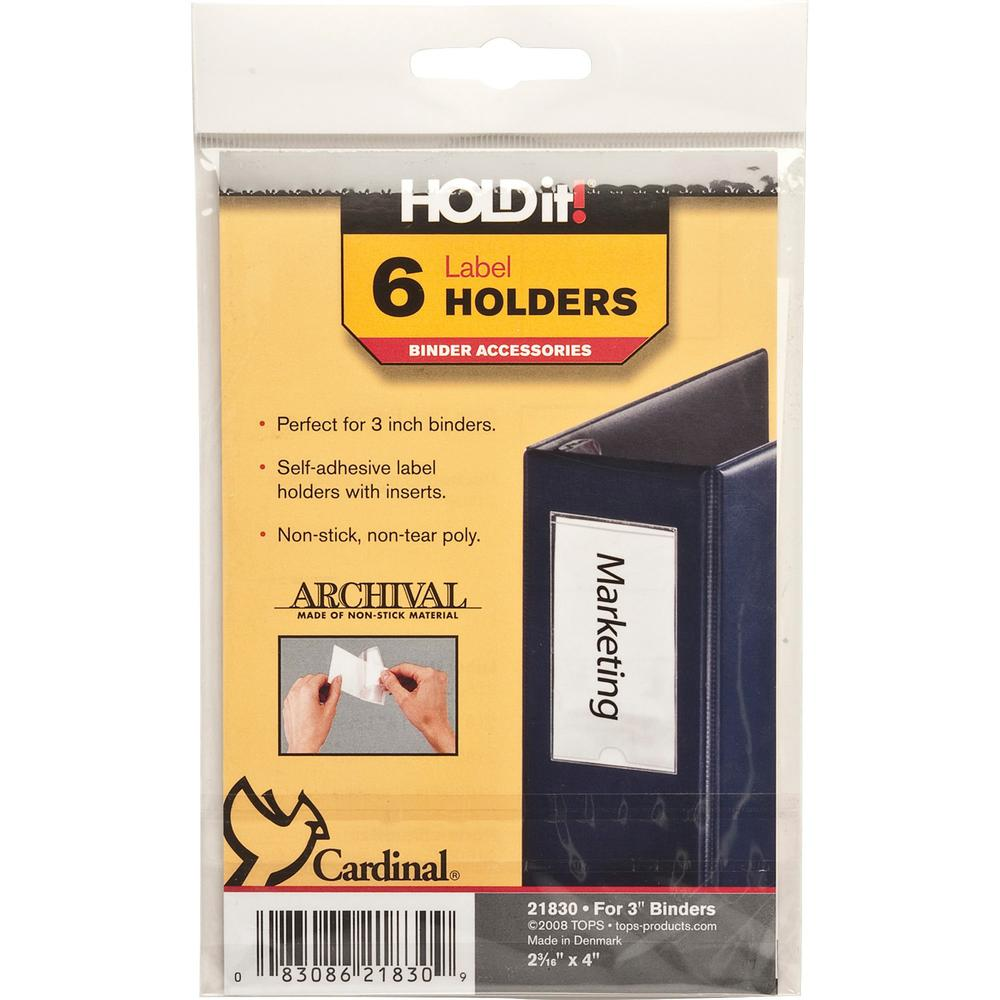 """Cardinal HOLDit! Self-Adhesive Label Holders - 2.2"""" x 4"""" x - 6 / Pack - Clear. Picture 1"""