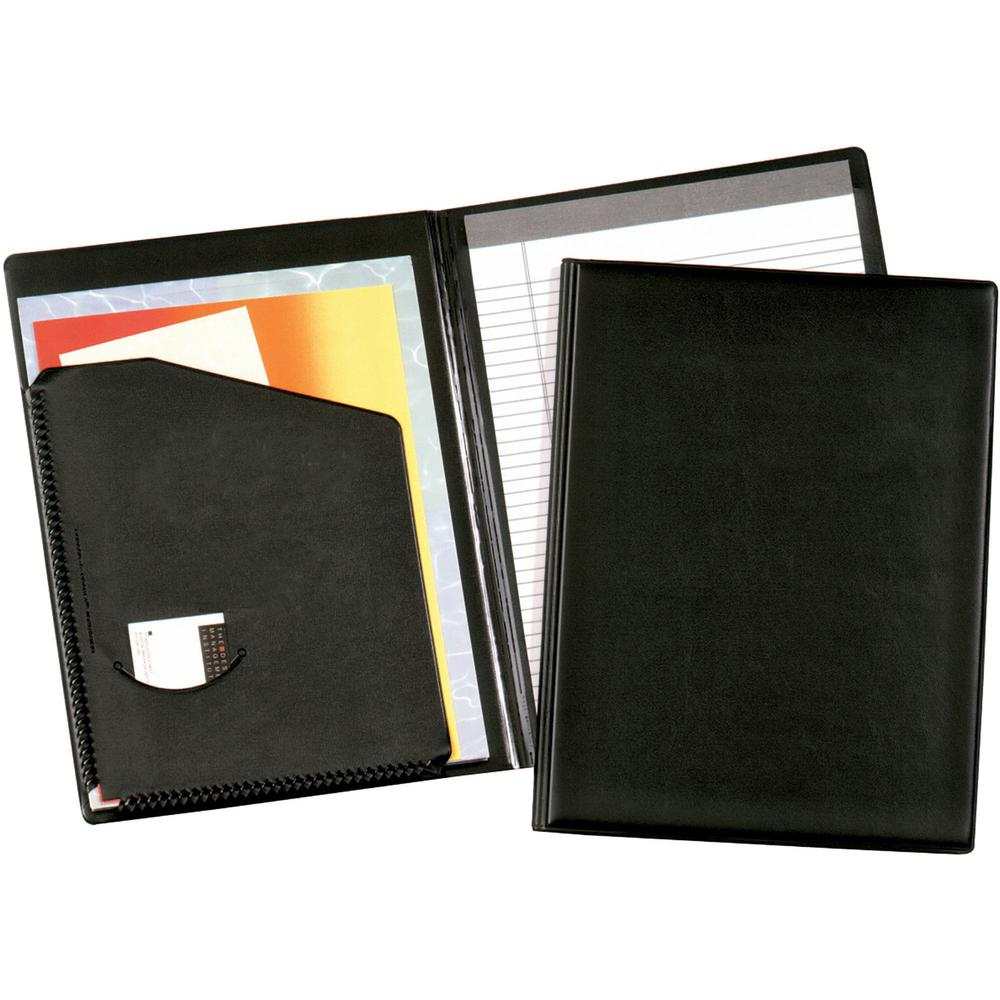 "Cardinal Letter Pad Folio - 9 1/2"" x 12 1/2"" - 100 Sheet Capacity - 1 Inside Front Pocket(s) - Vinyl, Polyvinyl Chloride (PVC) - Black - 1 Each. The main picture."