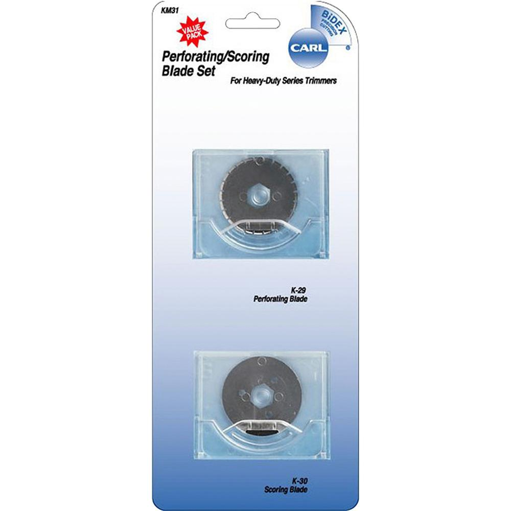 """CARL Perforating/Scoring Replacement Blades - 1.10"""" Length - Score, Perforating Style - Steel - 2 / Set - Silver. Picture 1"""