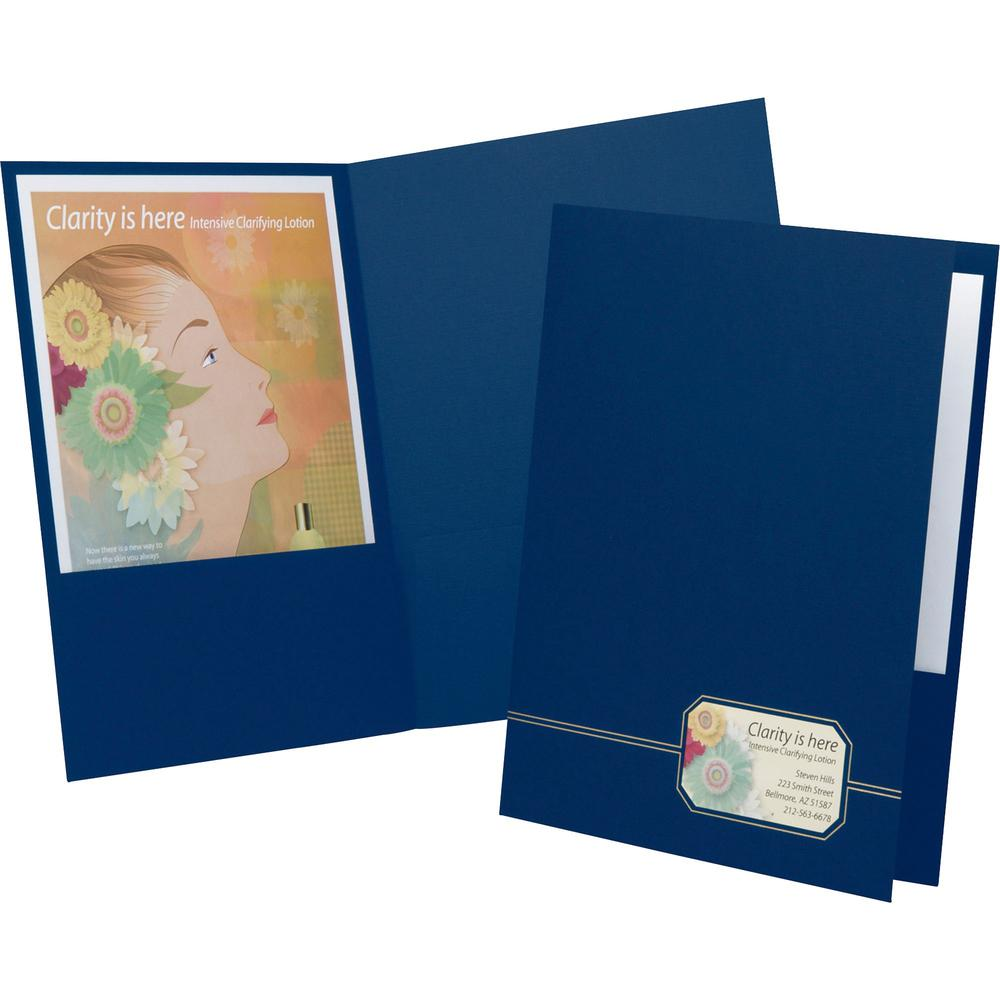 "Oxford Executive Letter Recycled Pocket Folder - 1/2"" Folder Capacity - 8 1/2"" x 11"" - 80 Sheet Capacity - 2 Front Pocket(s) - Linen - Blue, Gold - 30% - 4 / Pack. Picture 1"