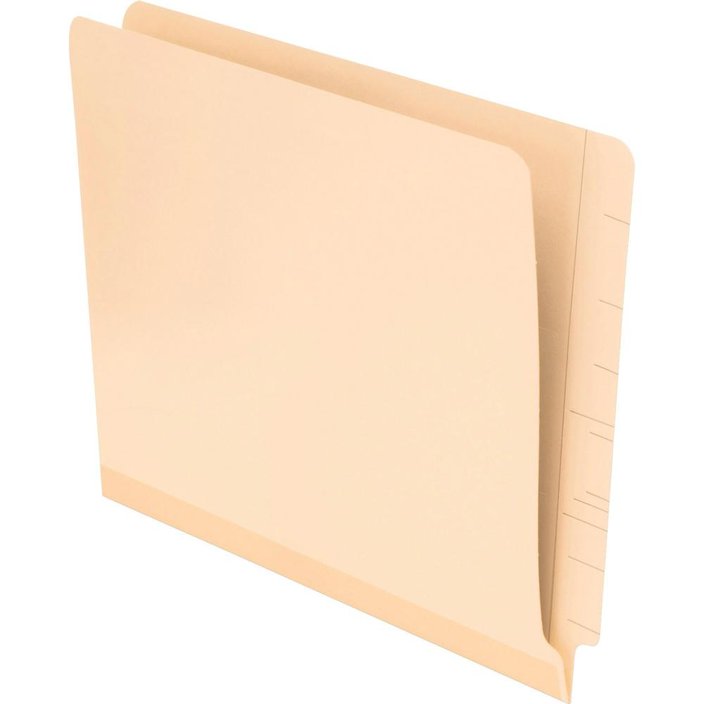 """Pendaflex Laminated Spine End Tab Folders - Letter - 8 1/2"""" x 11"""" Sheet Size - 11 pt. Folder Thickness - Poly - Manila - Recycled - 100 / Box. Picture 1"""
