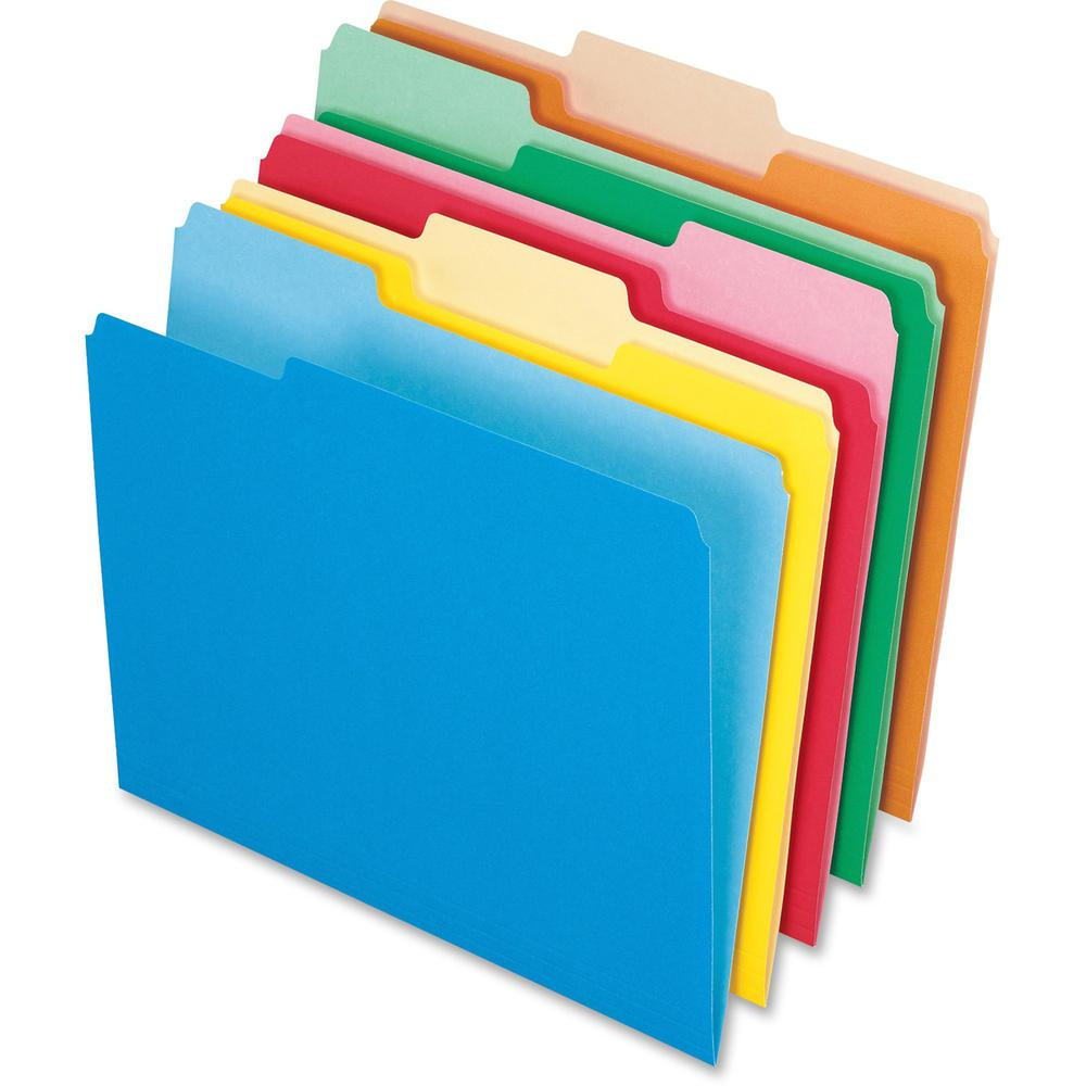 """Pendaflex Two-tone Color File Folders - Letter - 8 1/2"""" x 11"""" Sheet Size - 1/3 Tab Cut - Top Tab Location - Assorted Position Tab Position - 11 pt. Folder Thickness - Assorted - 100 / Box. Picture 1"""