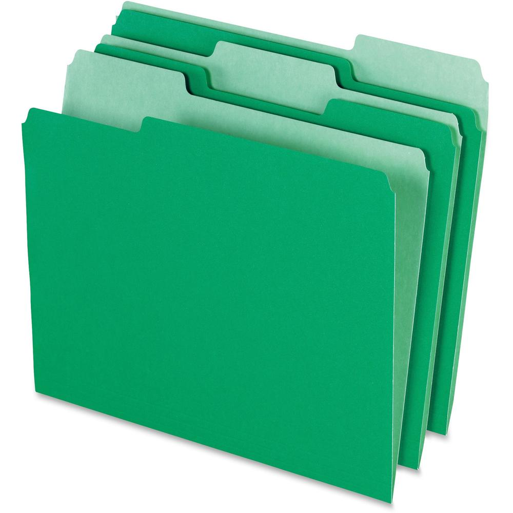 "Pendaflex 1/3 Tab Cut Letter Recycled Top Tab File Folder - 8 1/2"" x 11"" - Top Tab Location - Assorted Position Tab Position - Green - 10% - 100 / Box. Picture 1"
