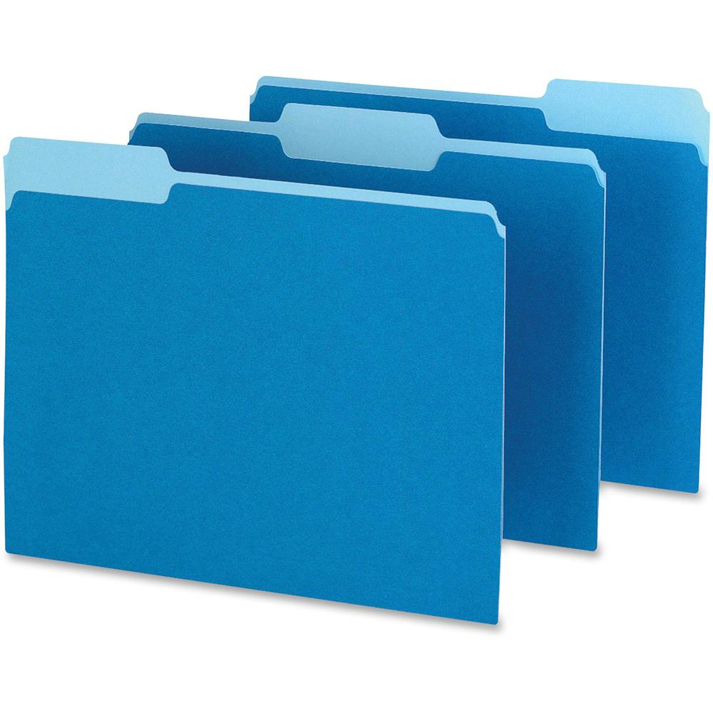"Pendaflex Two-tone Color File Folders - Letter - 8 1/2"" x 11"" Sheet Size - 1/3 Tab Cut - Top Tab Location - Assorted Position Tab Position - 11 pt. Folder Thickness - Blue - Recycled - 100 / Box. Picture 1"