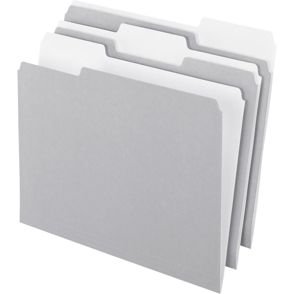 """Pendaflex 1/3 Tab Cut Letter Recycled Top Tab File Folder - 8 1/2"""" x 11"""" - Top Tab Location - Assorted Position Tab Position - Gray - 10% - 100 / Box. Picture 1"""